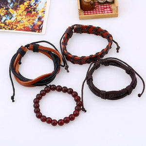 Retro Set Bracelet DIY Braided Rope Leather Bracelets