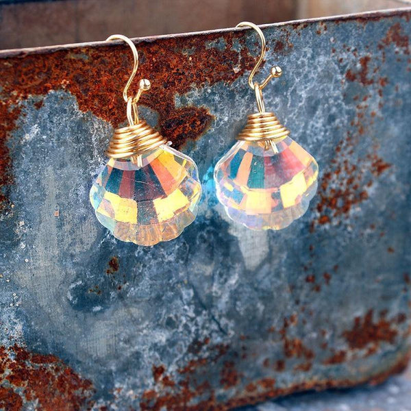 Shell Shape Bling Crystal Magic Eardrop Pendant Handmade Wire Earrings