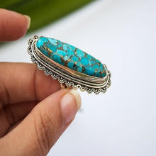 Load image into Gallery viewer, Vintage Look Tibet Alloy Antique Silver Plated Personality Green Oval Turquoise Ring