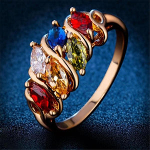 Colorful Zircon Crystal party Rings
