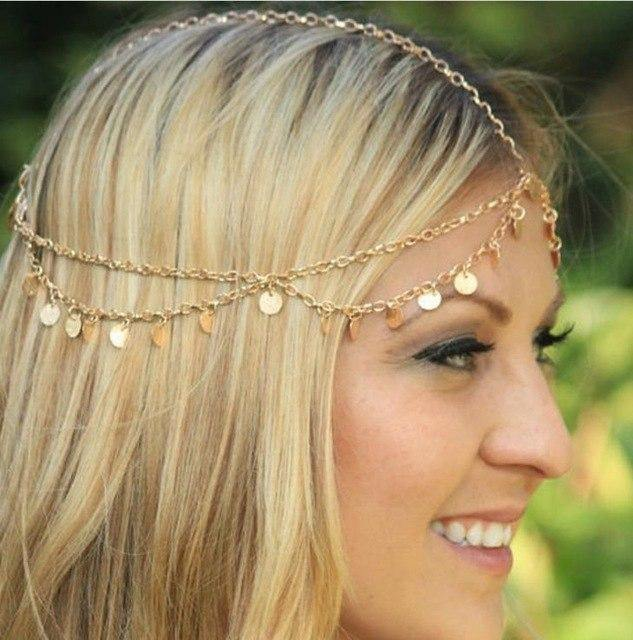 Fashion 2 layer Coin Beautiful Head Hair Accessories Chain Headwear
