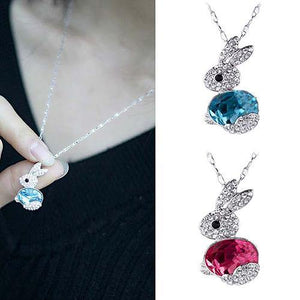 Easter Women Fashion Delicate Rhinestone Little Rabbit Pendant Sweater Necklace Jewelry