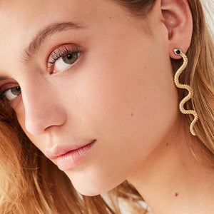 Exaggerated Long Serpentine Snake Tassel Stud Earrings