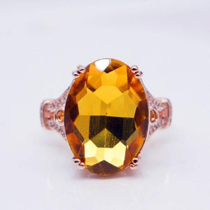 Fashion Engagement Marriage Goose Egg Zircon Gold Color Ring