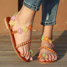 Load image into Gallery viewer, Summer Woman Colorful flowers bohemian ethnic style sandals