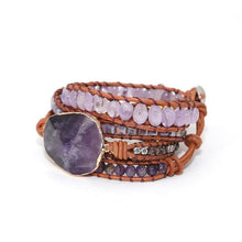 Load image into Gallery viewer, Handmade Leather Wrap Dream Purple Beads Wrap Bracelets Boho Chic Bangles