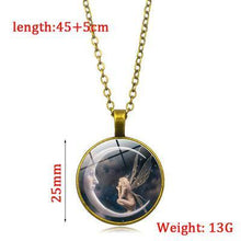 Load image into Gallery viewer, Moon Angel time necklace retro alloy pendant necklace sweater chain ornaments