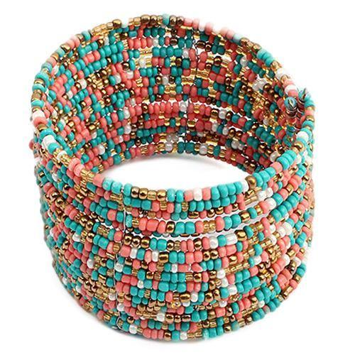 Fashion Women Wide Boho Beads Multi Layer Row Open End Cuff Bracelet Bangle