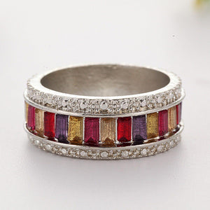 Colorful Crystal Stone Women Fashion Jewelry Accessories Circle Ring