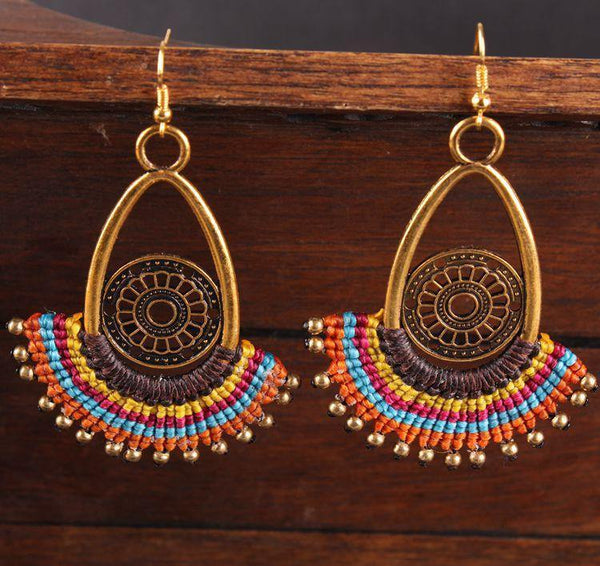 Bohemian Handmade Braided Dangle Women Vintage Female Earrings