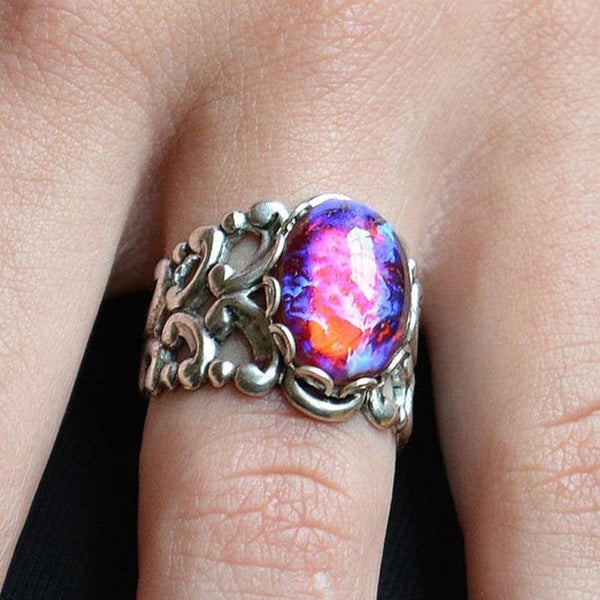 Vintage Purple Fire Women Engagement Wedding Jewelry Rings