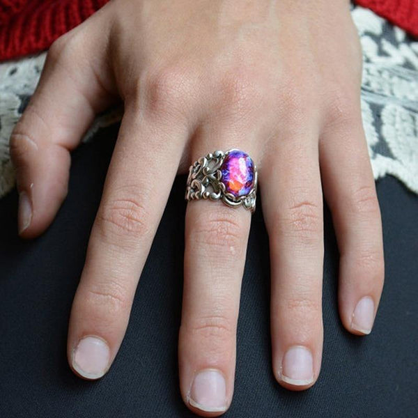 Vintage Silver Oval Purple Fire Opal Women Engagement Wedding Jewelry Rings
