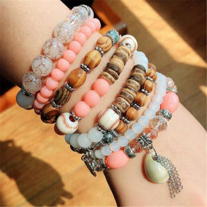 Women Fashion Elastic Adjustable 4pcs set Bohemian Beaded Shell Charm Bracelets Bangles