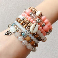 Load image into Gallery viewer, Women Fashion Elastic Adjustable 4pcs set Bohemian Beaded Shell Charm Bracelets Bangles