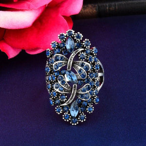 Vintage Big Hollow Blue Rhinestone Dragonfly Rings