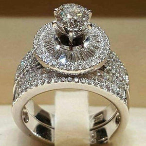 Women White Round Engagement Ring Set