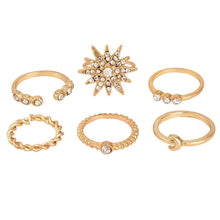 Load image into Gallery viewer, 6pcs Women Rhinestone Jewelry Boho Midi Knuckle Moon Star Finger Ring Set