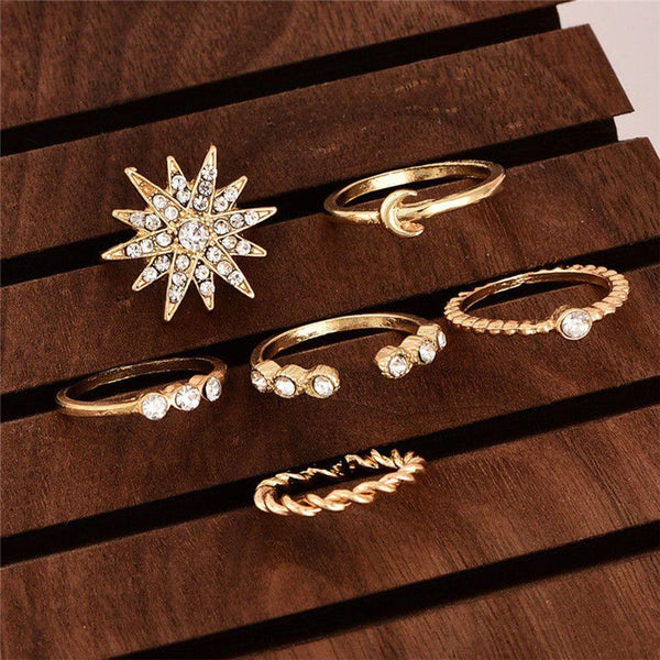 6pcs Women Rhinestone Jewelry Boho Midi Knuckle Moon Star Finger Ring Set