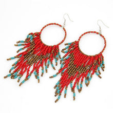 Load image into Gallery viewer, Fashion Bohemian Style Beads Tassel Pendant Earrings