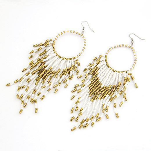 Fashion Bohemian Style Beads Tassel Pendant Earrings