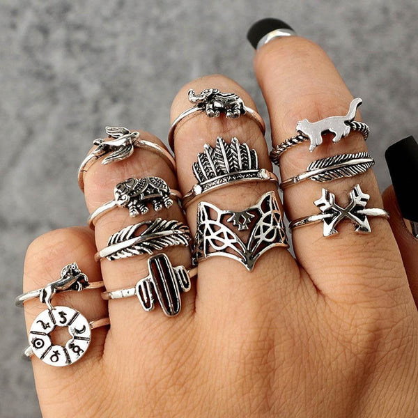 12PC Set Women Punk Vintage Finger Knuckle Rings