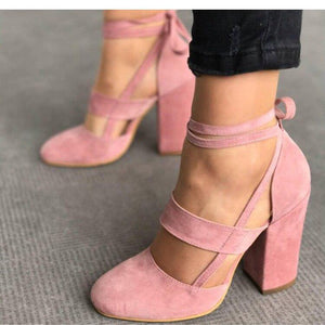 Women Pumps Fashion Gladiator Shoes Lace Up High Heels Hollow Sandals