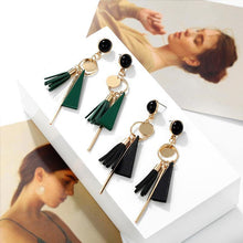 Load image into Gallery viewer, Personality triangle geometric wood Retro tassel  earrings