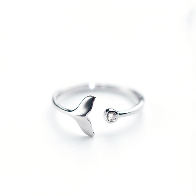 Cubic Zircon White Fish Adjustable SilverRings for Woman