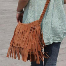 Load image into Gallery viewer, Fashion Boho Women Suede Weave Tassel Shoulder Bag