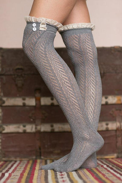 Button Lace Stockings Diamond Over The Knee Long Socks