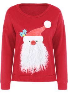 Fashion Round Neck Father Christmas Patterned Thicken Sweatshirt