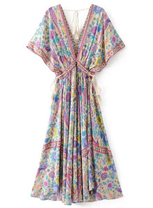 Women s V Neck Floral Print Lace up Maxi Dress with Tassel