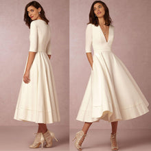 Load image into Gallery viewer, A-Line V Neck Half Sleeve Midi Party Dress