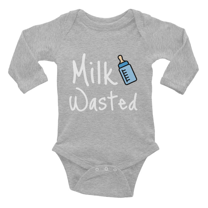 Oli & Joy Milk Wasted Infant Long Sleeve Bodysuit [Various Colors]