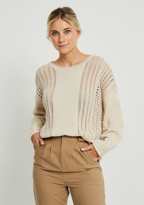 Crochet Knit Jumper | Natural