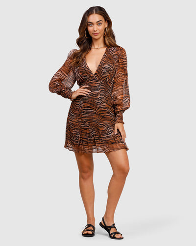 MINISTRY OF STYLE - Tigress Smocked Mini dress