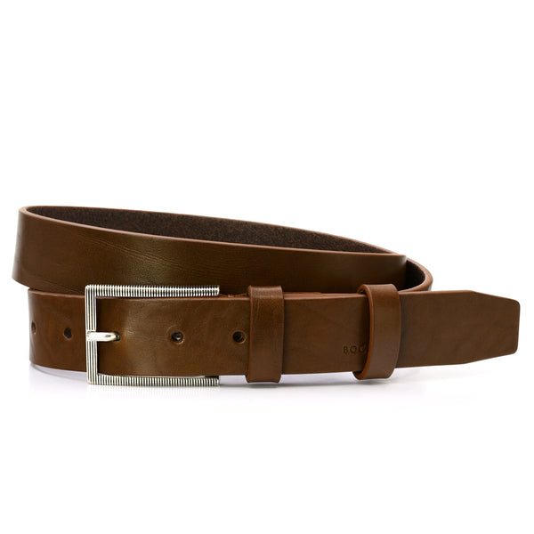 Tobacco Leather Belt, Casual Collection, Striped Buckle