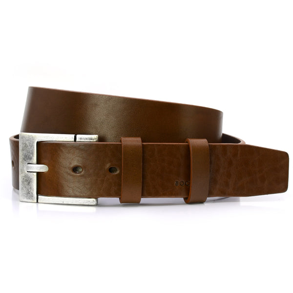 Tobacco Brown Solid Leather Belt for Jeans