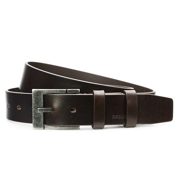 Mahogany Solid Leather Belt for Jeans, Dark Buckle