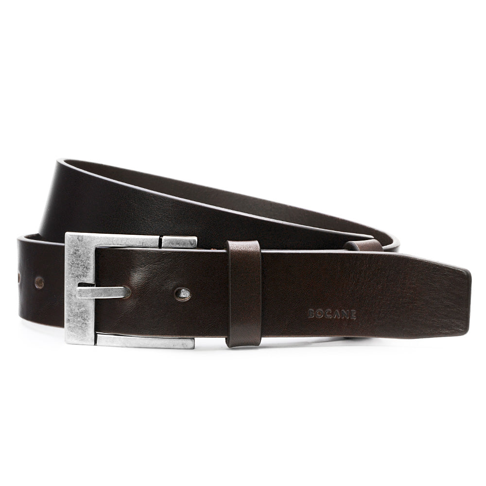 Mahogany Solid Leather Belt for Jeans