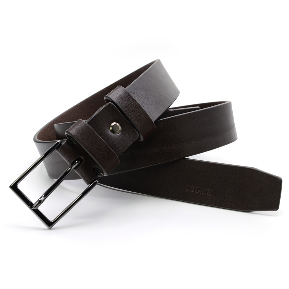 Extra Long Full-Grain Leather Belt, Casual Collection, Dark Brown