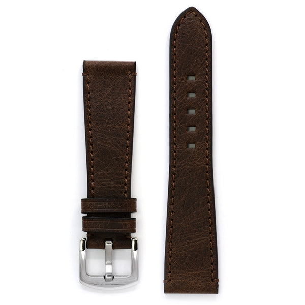 Leather Watch Strap, Antique Brown, Medium Length