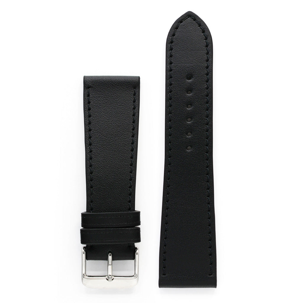 Black Full-Grain Leather Watch Strap, Black, Long Length