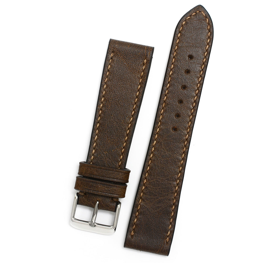 Antique Brown Leather Watch Strap, Latte Hand-sewing, Medium Length