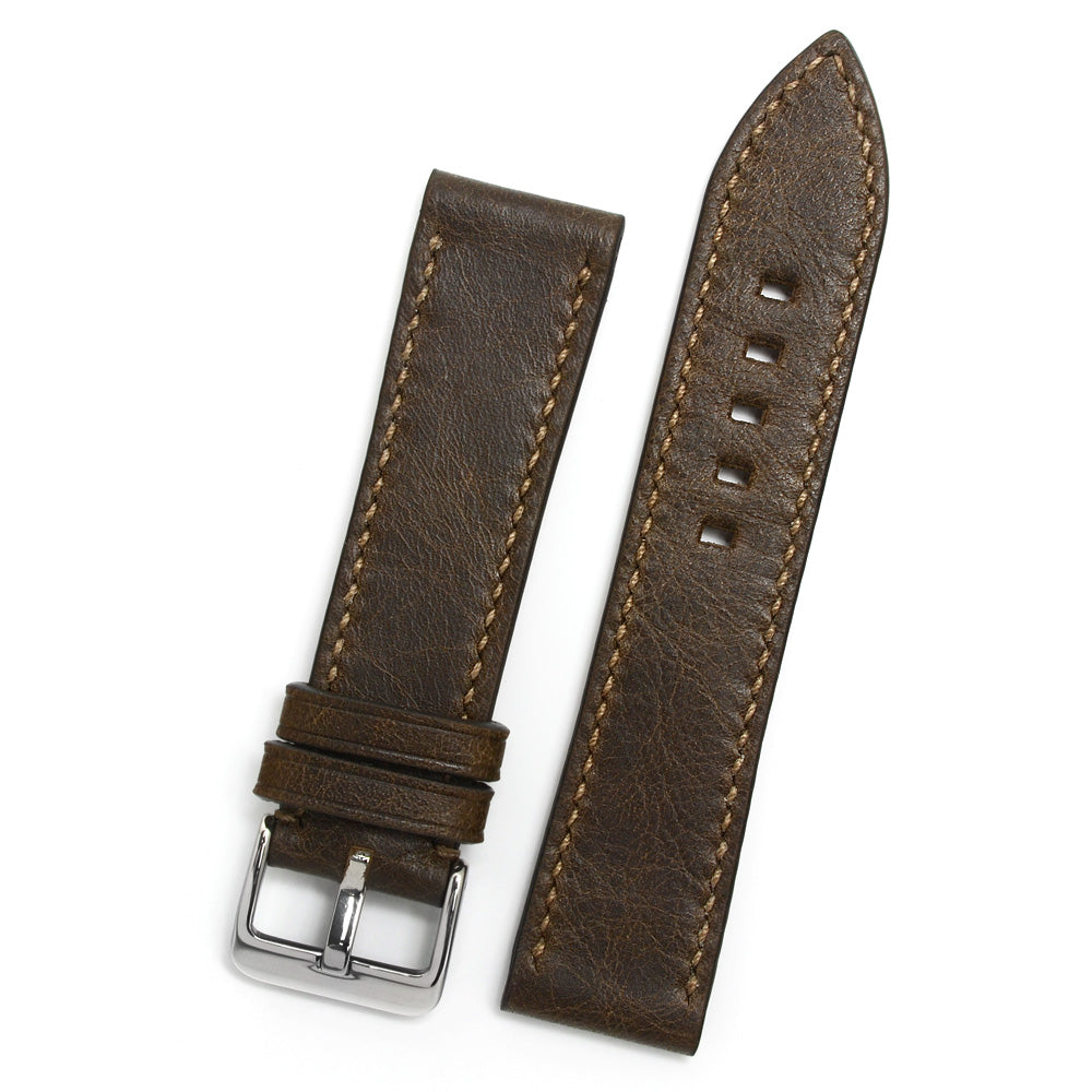 Leather Watch Strap, Antique Brown, Latte Hand-sewing, Medium Length