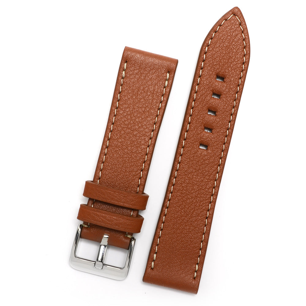 Leather Watch Strap, Cognac, Contrast Stitch, Medium Length