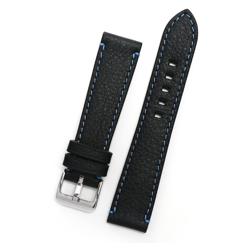 Top Grain Leather Watch Strap, Black, Blue Sewing, Medium Length