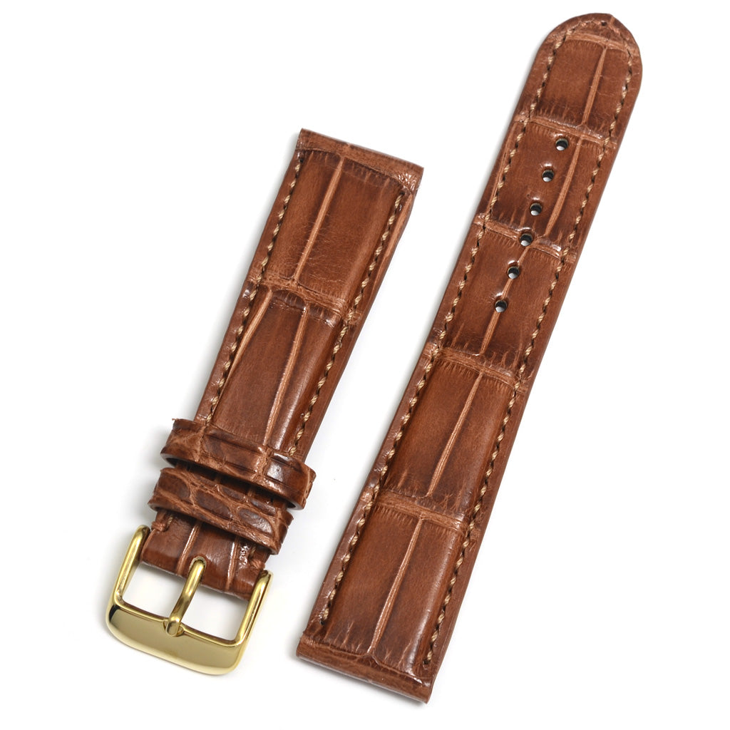 Padded Alligator Watch Strap, Cognac, Square Scales, Hand-sewn