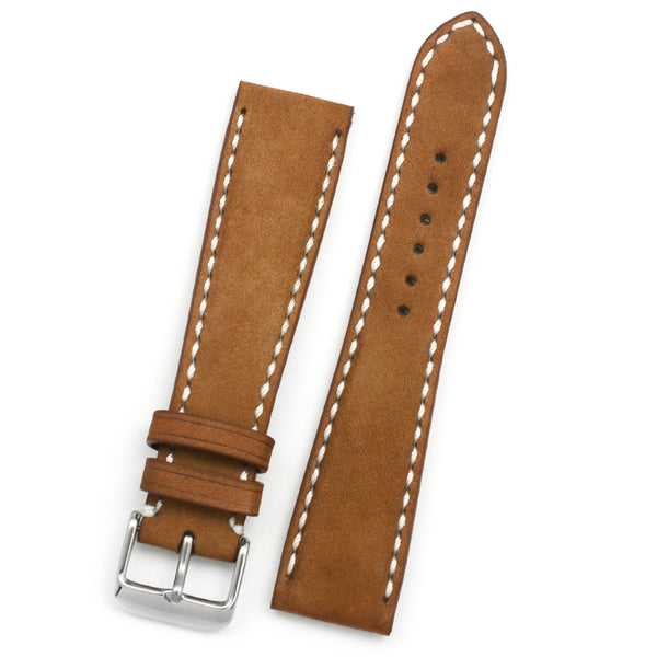 Padded Watch Strap in Latte Nubuk Leather, White Hand-sewing