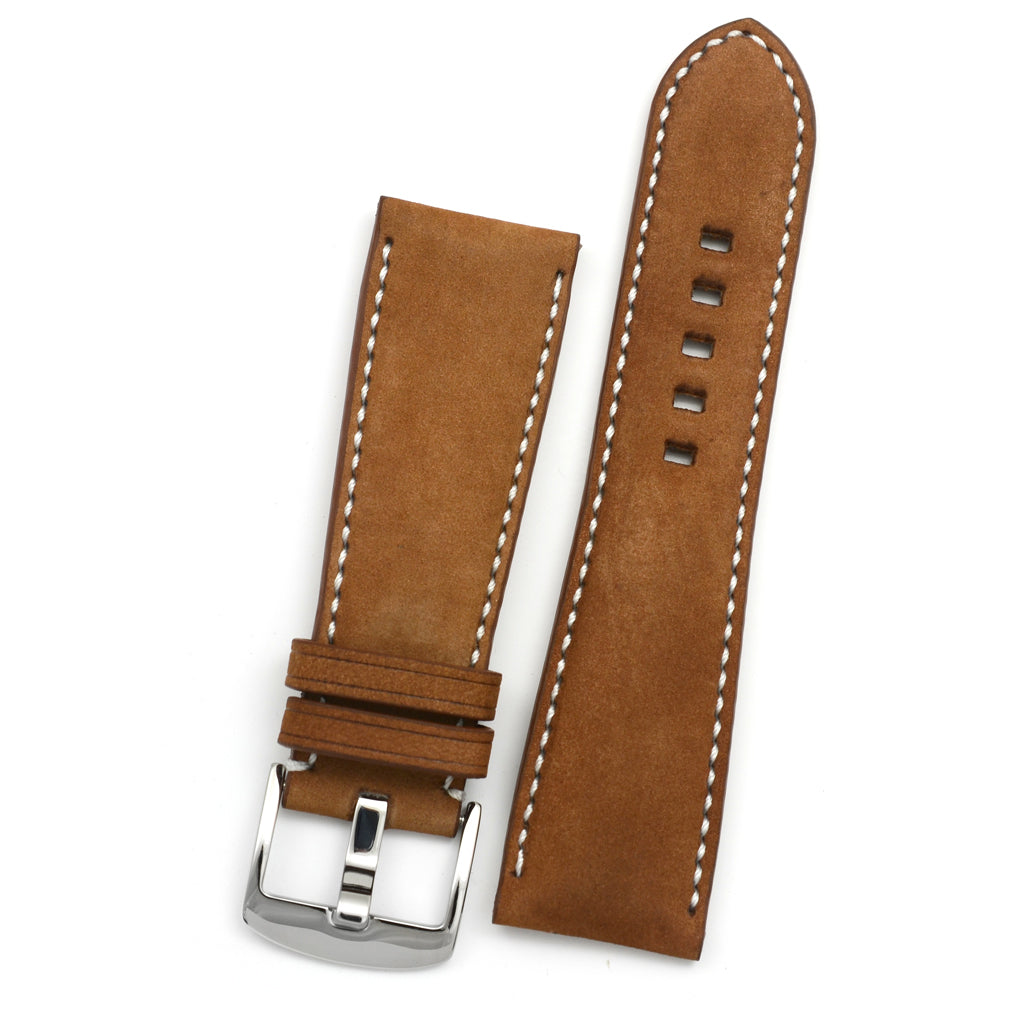 Padded Watch Strap in Latte Nubuk Leather, White Hand-sewing, Rectangle Holes